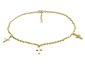 18k Yellow Gold Over Sterling Silver Cross Charms Anklet 9 inch