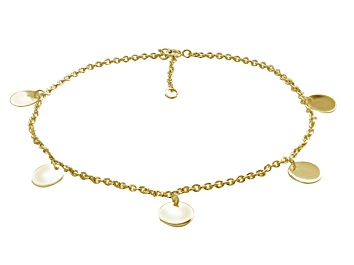 Picture of Circle Charms Polished 18k Yellow Gold Over Sterling Silver Adjustable 9 inch Anklet