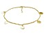 Circle Charms Polished 18k Yellow Gold Over Sterling Silver Adjustable 9 inch Anklet