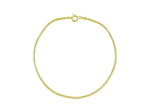 Round Snake Link 18k Yellow Gold Over Sterling Silver 9 inch Chain Anklet  Made in Italy