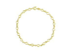 Beaded Link 18k Yellow Gold Over Sterling Silver 9 inch Chain Anklet  Made in Italy