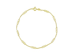 Baby Box Link 18k Yellow Gold Over Sterling Silver 9 inch Bead Station Anklet  Made in Italy