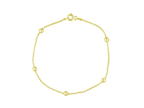 Beaded Station 18k Yellow Gold Over Sterling Silver 9 inch Chain Anklet  Made in Italy