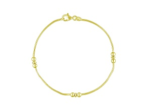 Three Bead Station 18k Yellow Gold Over Sterling Silver Snake Chain 9 inch Anklet  Made in Italy
