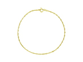 Beaded Snake Link 18k Yellow Gold Over Sterling Silver 9 inch Chain Anklet  Made in Italy