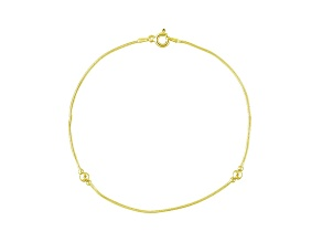 Diamond Cut Beaded Snake Link 18k Yellow Gold Over Sterling Silver 9 inch Anklet  Made in Italy
