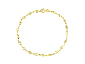 Oval Bead Link Polished 18k Yellow Gold Over Sterling Silver 9 inch Chain Anklet  Made in Italy