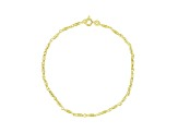 Round Bar Link 18k Yellow Gold Over Sterling Silver 9 inch Anklet  Made in Italy