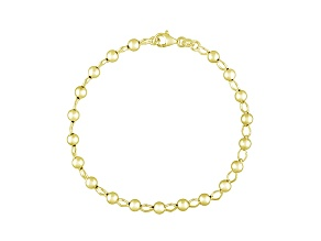 Beaded Link Polished 18k Yellow Gold Over Sterling Silver 9 inch Chain Anklet  Made in Italy
