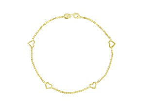 18k Yellow Gold Over Sterling Silver Heart Station Box Link Anklet