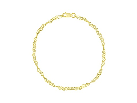 18k Yellow Gold Over Sterling Silver Heart Design Link Anklet