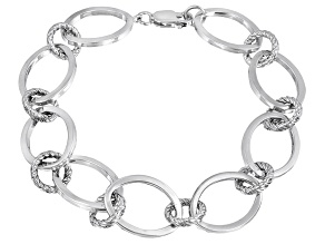 Oval And Rope Design Sterling Silver 7 1/2 inch Link Bracelet