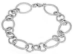 Textured Oval Rope Design Sterling Silver 7 1/2 inch Link Bracelet