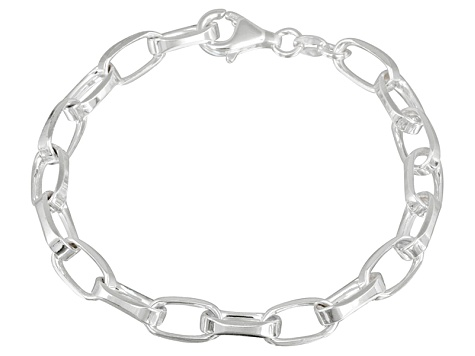 Oval Link Sterling Silver 7 inch Bracelet   Made in Italy