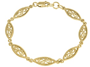 Paisley Yellow Tone Sterling Silver 7 inch Link Bracelet
