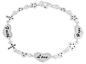 Inspirational Hearts Sterling Silver 7 1/2 inch Link Bracelet