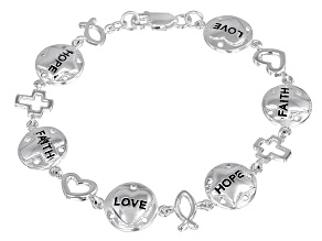 Inspirational Words Sterling Silver 7 1/2 inch Link Bracelet