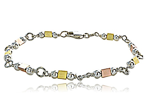 Three-Tone Yellow Rose And Sterling Silver Geometric Shaped 8 inch Link Bracelet