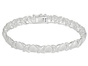 Stampato Link And Heart Link Sterling Silver 7 inch Bracelet