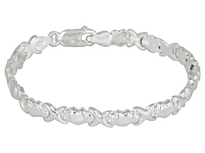Small Stampato Link And Heart Link Sterling Silver 7 inch Bracelet