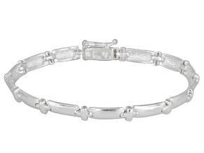 Fancy Station Stampato Link Sterling Silver 7 1/2 inch Bracelet