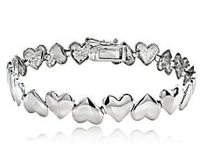 Polished Heart Link Sterling Silver 7 inch Bracelet