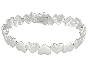 Brushed Heart Link Sterling Silver 7 inch Bracelet