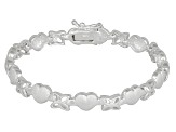 Hearts And Butterfly Link Sterling Silver 7 inch Bracelet