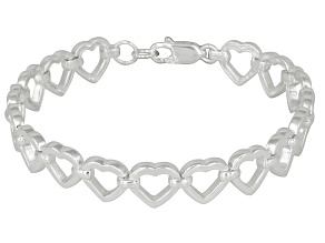 Open Heart Link Sterling Silver 7 inch Bracelet