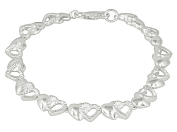 Picture of Double Hearts Sterling Silver 7 inch Link Bracelet