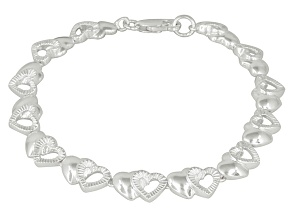 Double Hearts Sterling Silver 7 inch Link Bracelet
