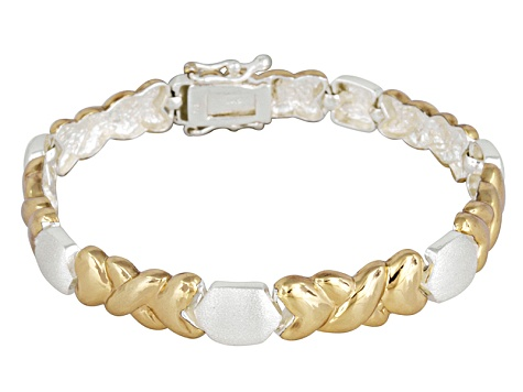 Two-Tone Stampato Link 18k Yellow Gold Over Sterling Silver 7 inch Bracelet