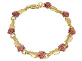 Three-Tone Roses And Leaves 18k Yellow Gold And Rose Gold Over Sterling Silver 7 inch Link Bracelet