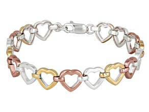 Three-Tone Hearts Link Sterling Silver 7 inch Bracelet