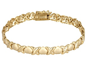Stampato Link 18k Yellow Gold Over Sterling Silver 7 inch Bracelet