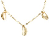 18k Yellow Gold Over Silver Curved Oval Disc Charm Necklace 18 inch