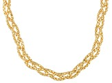 18k Yellow Gold Over Silver Hollow Braded Popcorn Link Necklace 18 inch