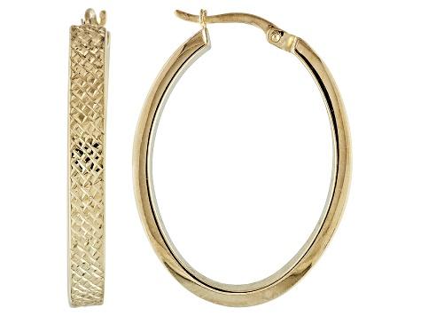 18k Yellow Gold Over Silver Diamond Cut Oval Tube Hoop Earrings 1 1