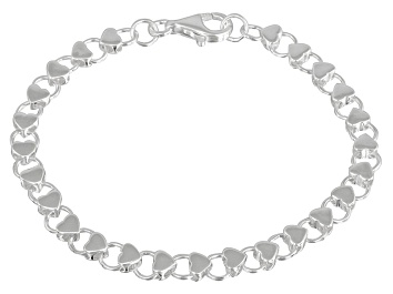 Picture of Hearts Link Sterling Silver 7 inch Bracelet