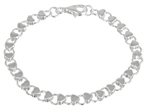 Hearts Link Sterling Silver 7 inch Bracelet
