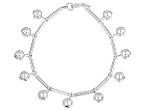 Dangling Beads Sterling Silver 7 inch Link Bracelet