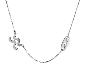 Rhodium Over Sterling Silver Zodiac Aquarius 18 inch Necklace