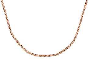 18k Rose Gold Over Sterling Silver Twisted Box Link Chain Necklace 20 inch