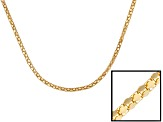 18k Yellow Gold Sterling Silver Popcorn Link Chain Necklace 20 inch