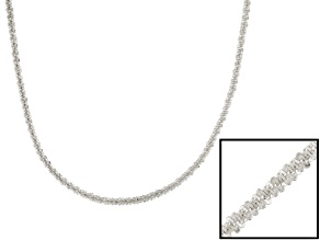 Sterling Silver Twisted Diamond Cut Chain Necklace 18 inch 1.5mm