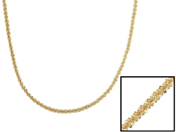 Picture of 18k Yellow Gold Over Sterling Silver Twisted Diamond Cut Chain Necklace