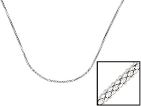 Sterling Silver Popcorn Link Chain Necklace 20 inch 1.5mm