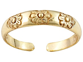 18k Yellow Gold Voer Silver Floral Design Toe Ring