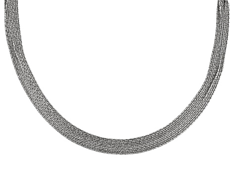 Rhodium Over Silver Multi Strand Diamond Cut Nugget Link Necklace 17 inch