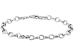 Sterling Silver 7.25 inch Charm Bracelet    Hollow Center     Ma